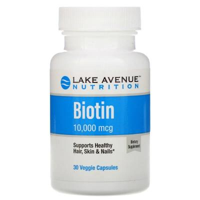 Биотин, Biotin, Lake Avenue Nutrition, 10000 мкг, 30 капсул