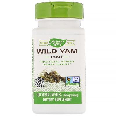 Корень Дикого Ямса, Wild Yam Root, 850 мг, Nature's Way, 100 веганских капсул