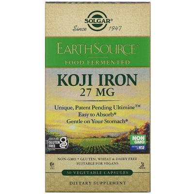 Железо коджи, Koji Iron, Solgar, EarthSource Food Fermented, 27 мг, 30 растительных капсул