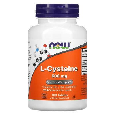 L-цистеин, L-Cysteine, Now Foods, 500 мг, 100 таблеток