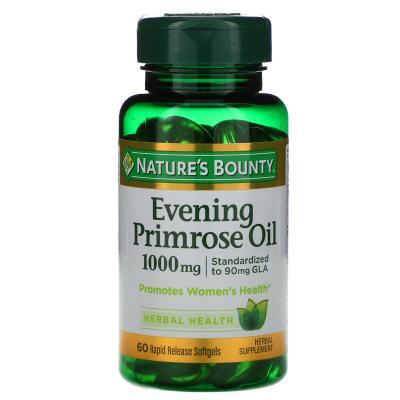 Масло вечерней примулы, Evening Primrose Oil, Nature's Bounty, 1000 мг, 60 мягких капсул с быстрым высвобождением