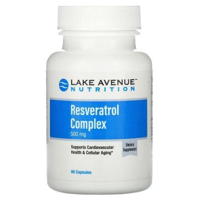 Ресвератрол, Resveratrol, Lake Avenue Nutrition, 500 мг, 60 капсул