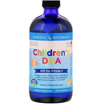 Жидкий рыбий жир для детей, Children's DHA, Nordic Naturals, клубника, 473 мл
