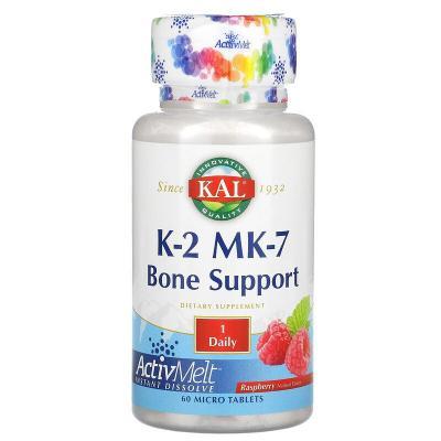 K-2 MK-7, поддержка костей, малина, KAL, 60 микротаблеток