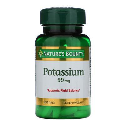 Калий, Potassium, Nature's Bounty, 99 мг, 100 таблеток