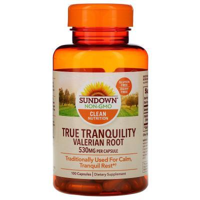 Корень валерианы, True Tranquility Valerian Root, Sundown Naturals, 530 мг, 100 капсул