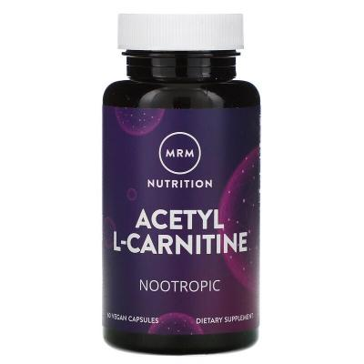Ацетил L-карнитин, Acetyl L-Carnitine, MRM, 500 мг, 60 капсул