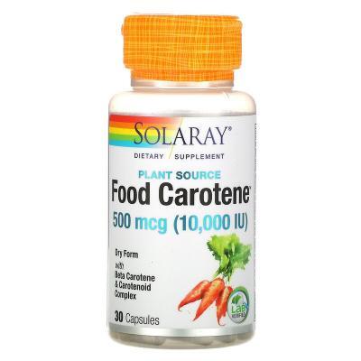 Бета-каротин, Food Carotene, Solaray, пищевой, 10000 МЕ, 30 капсул