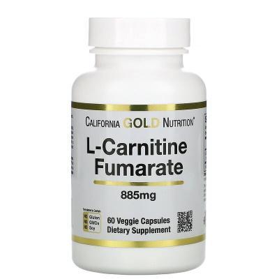 L-карнитин фумарат, L-Carnitin-Fumarat, California Gold Nutrition, 885 мг, 60 вегетарианских капсул