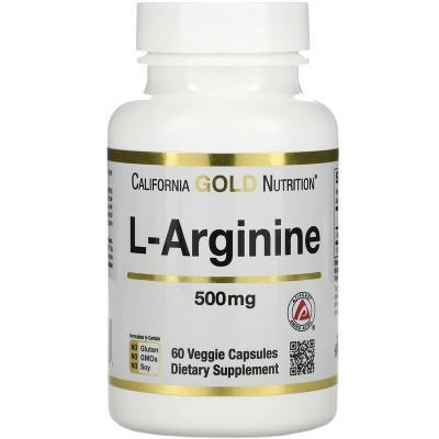 Аргинин, L-Arginine, AjiPure, California Gold Nutrition, 500 мг, 60 растительных капсул