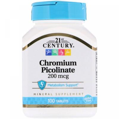 Хром пиколинат, Chromium Picolinate, 21st Century, 200 мкг, 100 таблеток