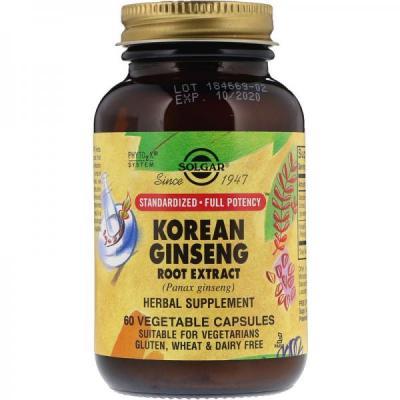 Экстракт корня женьшеня, Korean Ginseng Root Extract, Solgar 60 капсул (SOL04138)