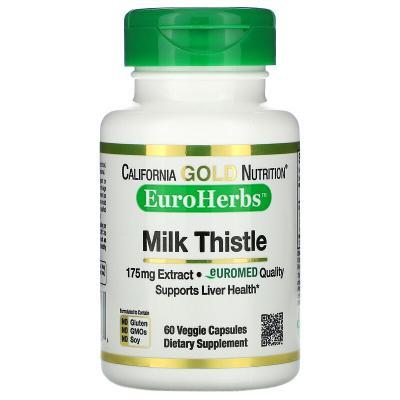 Экстракт расторопши, 80% силимарина, California Gold Nutrition, 175 мг, 60 растительных капсул