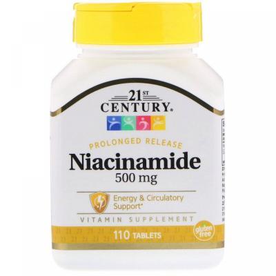 Никотинамид, 500 мг, 21st Century, 110 таблеток