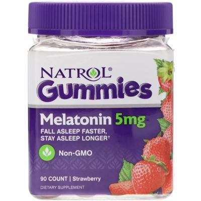 Мелатонин, Melatonin, 5 мг, Natrol, 90 жевательных конфет