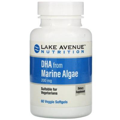 ДГК из морских водорослей, растительные омега, Lake Avenue Nutrition, 200 мг, 60 таблеток
