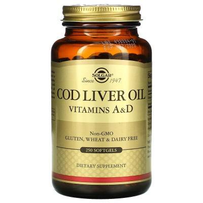 Витамины А и D3 из печени трески, Vitamins A and D3 cod liver oil, Solgar, 250 капсул
