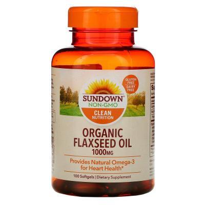 Органическое льняное масло, Organic Flaxseed Oil, Sundown Naturals, 1000 мг, 100 мягких капсул