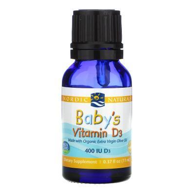 Витамин D3 в каплях, для детей, Baby's Vitamin D3, Nordic Naturals, 400 МЕ, 11 мл