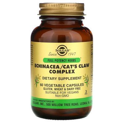 Комплекс с эхинацеей и кошачьим когтем, Echinacea/ Cat's Claw, Solgar, 60 растительных капсул
