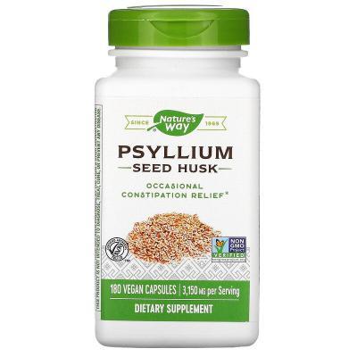 Оболочка семян подорожника, Psyllium Seed Husk, Nature's Way, 3150 мг, 180 веганских капсул