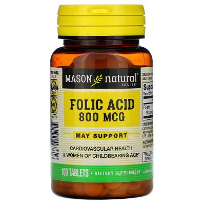 Фолиевая кислота, Folic Acid, Mason Natural, 800 мкг, 100 таблеток
