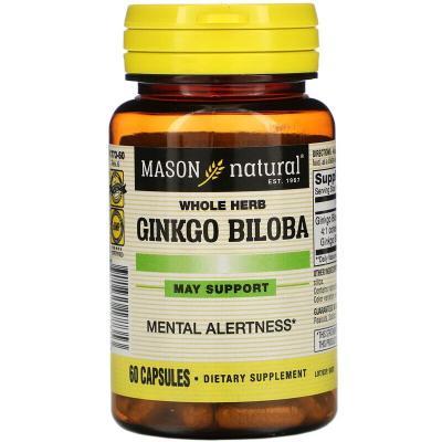 Гинкго билоба, Ginkgo Biloba, Mason Natural, 60 капсул