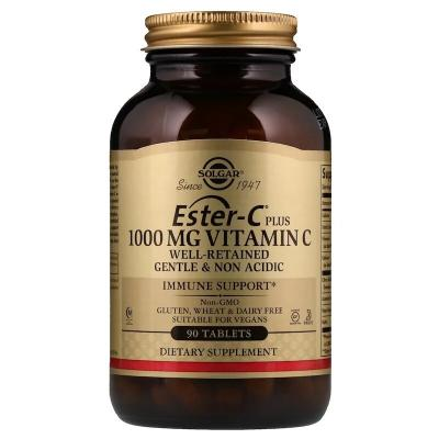 Витамин С эстер плюс (Ester-C Plus), Solgar, 1000 мг, 90 таблеток