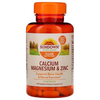 Кальций, магний и цинк, Calcium Magnesium & Zinc, Sundown Naturals, 100 таблеток