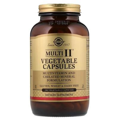 Мультивитамины Multi II, Solgar, 180 вегетарианских капсул