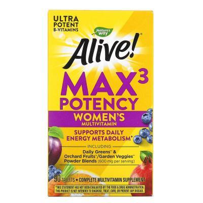 Витамины для женщин, Alive, Women's Max3 Potency, Nature's Way, 90 таблеток