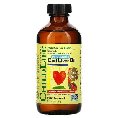 Рыбий жир печени трески, для детей, вкус клубники, CodLiver Oil, ChildLife, 237 мл