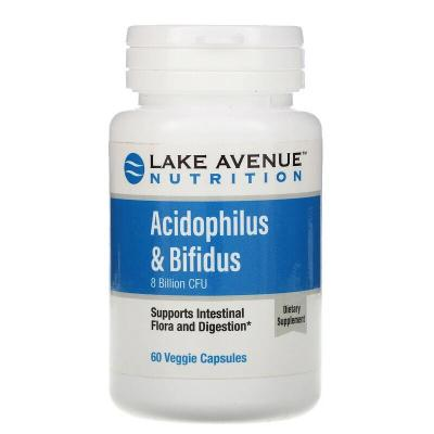 Пробиотики (Acidophilus & Bifidus) 8 млрд КОЕ, Lake Avenue Nutrition, 60 капсул