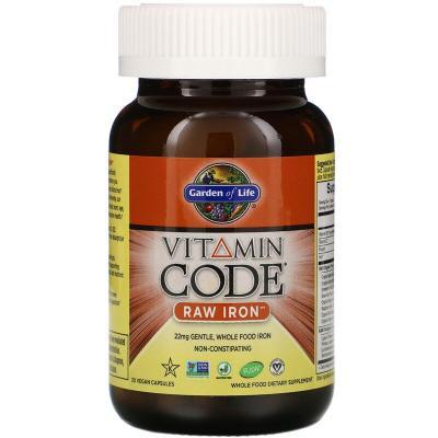 Железо, Vitamin Code Raw Iron, Garden of Life, 30 капсул