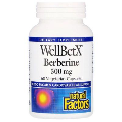 Берберин, WellBetX, Natural Factors, 500 мг, 60 капсул