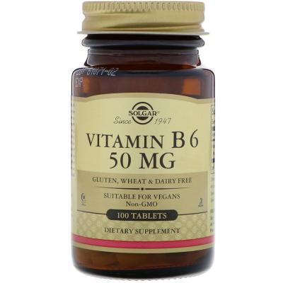 Витамин В6, Vitamin B6, Solgar, 50 мг, 100 таблеток