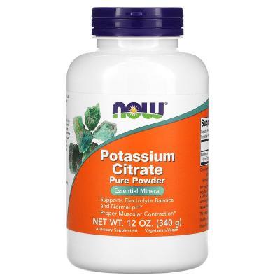 Чистый порошок цитрата калия, Pure Potassium Citrate Powder, Now Foods, 12 унций (340 г)