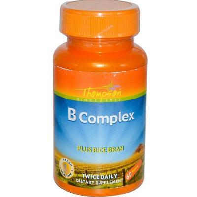 В-комплекс плюс рисовые отруби, B Complex, Thompson, 60 таблеток