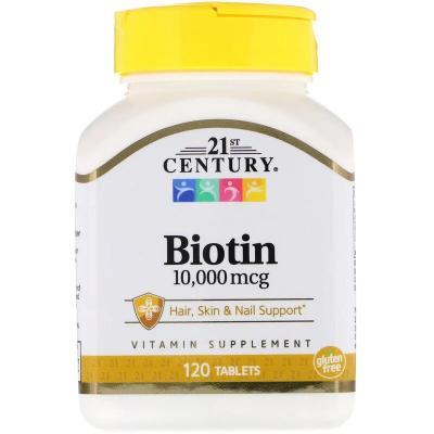 Биотин, Biotin, 21st Century, 10000 мкг, 120 таблеток
