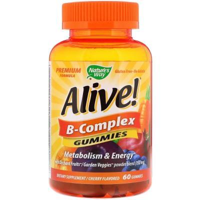 Комплекс витаминов группы В, вишневый вкус, Alive! B-Complex, Nature's Way, 60 жевательных таблеток