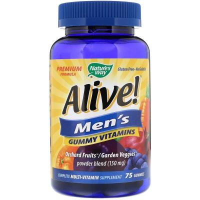 Мультивитамины для мужчин со вкусом фруктов, Alive! Nature's Way, 75 жевательных таблеток