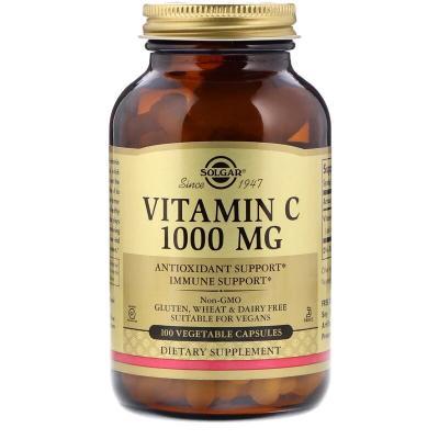 Витамин С, Vitamin C, Solgar, 1000 мг, 100 капсул