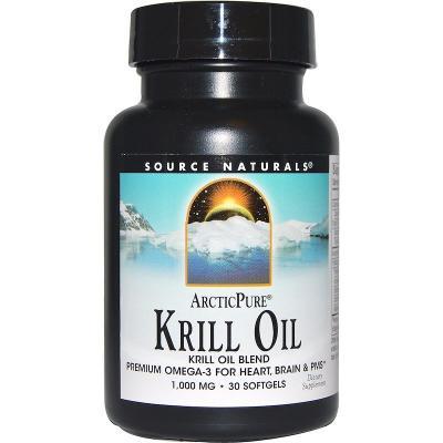 Масло морского криля, Krill Oil, Source Naturals, 1000 мг, 30 капсул