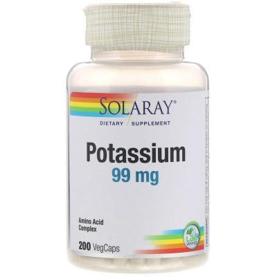 Калий, Potassium, Solaray, 99 мг, 200 вегетарианских капсул
