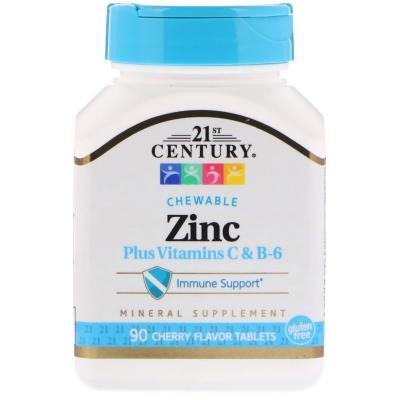 Цинк + Витамины C & B-6, вишневый вкус, 21st Century, 90 жевательных таблеток