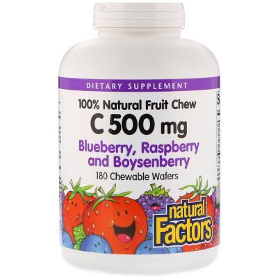 Витамин С, вкус черники, малина и бойзенберры, Natural Factors, 500 мг, 180 жевательных таблеток