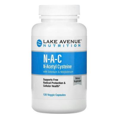 N-ацетилцистеин с селеном и молибденом, NAC, Lake Avenue Nutrition, 600 мг, 120 вегетарианских капсул
