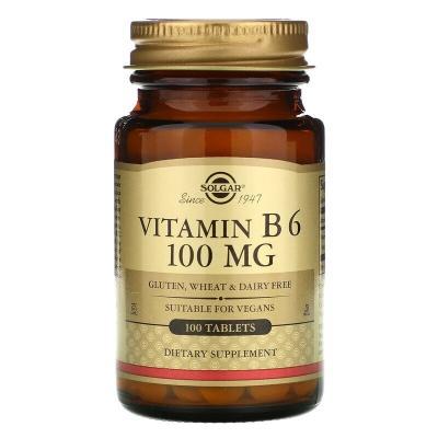 Витамин В6, Vitamin B6, Solgar, 100 мг, 100 таблеток