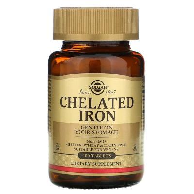 Хелатное железо, Бисглицинат железа, Chelated Iron, Solgar, 25 мг, 100 таблеток