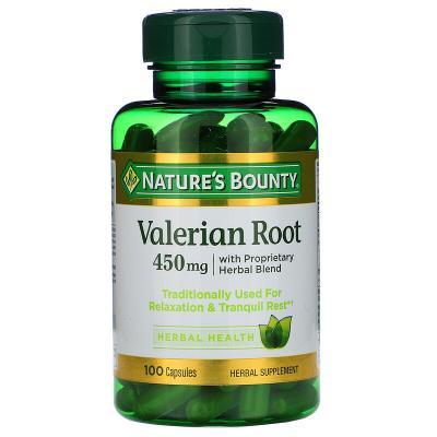 Корень валерианы с фирменной смесью трав, Valerian Root, Nature's Bounty, 450 мг, 100 капсул